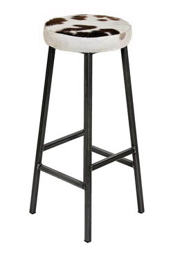 Bertie Jeckel - Thick Padded Cow Hide Industrial Bar Stool