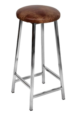 Bertie Tanner - Nickel Plated Frame Industrial Bar Stool with Leather Seat