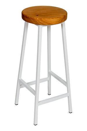 Bertie Broadoak - White Powder Coated Frame Industrial Bar Stool with Chunky Oak Seat