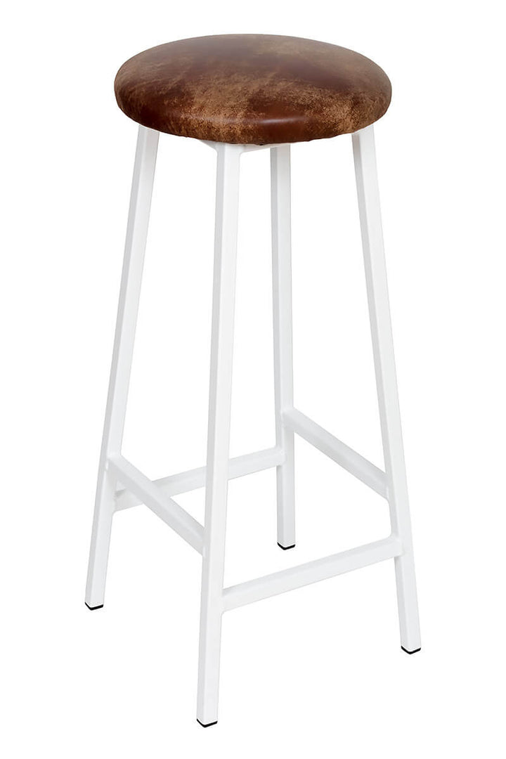 Bertie Tanner - White Powder Coated Frame Industrial Bar Stool with Leather Seat