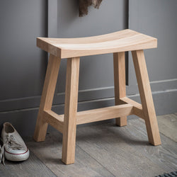 Rustic Solid Oak Stool (4586627956791)