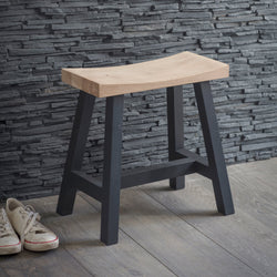 Rustic Solid Oak Stool - Carbon (4586628743223)