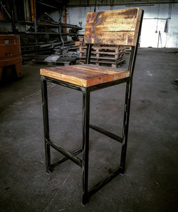 Cruach - Industrial Bar Stool with backrest - Acumen Collection