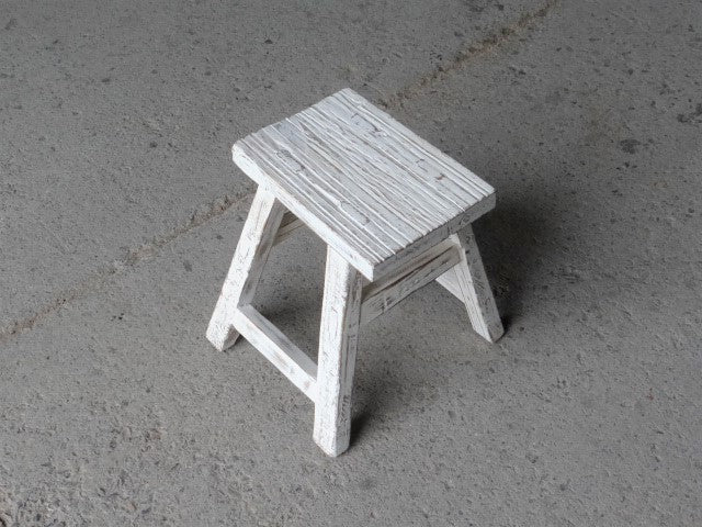 White Wash Rustic Stool - 30-40cm Height