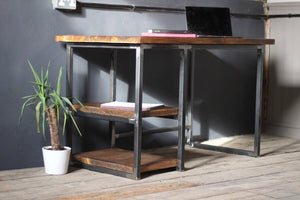 The Rustic Artisan Industrial Office Desk - 44cm Depth