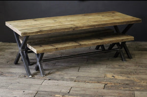 The X Frame Rustic Artisan Table - 65MM Solid Pine