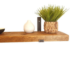 15cm Depth - 50mm Chunky Rustic Shelf with Lipped Metal Brackets