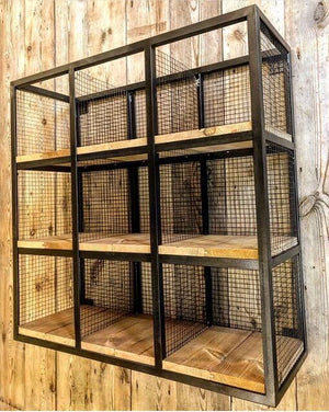 Industrial Wire 9 Cube Pigeon Hole Shelf - Acumen Collection