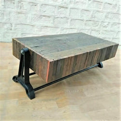 Salvaged Wood Block Industrial Coffee Table