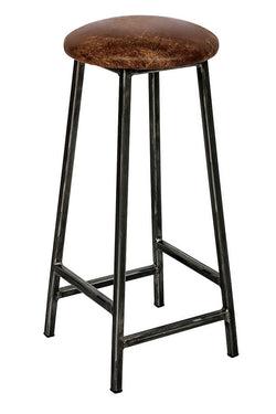 Industrial Bar Stool - 35mm Thick Leather Seat (4432508649527)