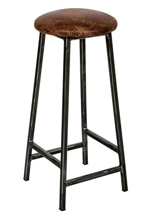 Bertie Tanner - Raw Black Steel Frame Industrial Bar Stool with Leather Seat