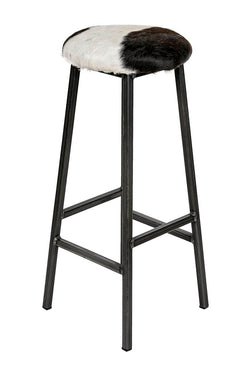 Bertie O'Hare - Natural Cow Hide Industrial Bar Stool (4435904036919)
