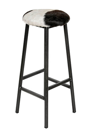 Bertie O'Hare - Natural Cow Hide Industrial Bar Stool