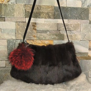 Fur Handbag with pompom