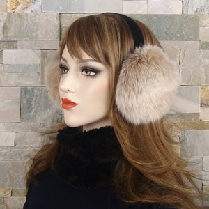 Beige Fox Fur Earmuffs