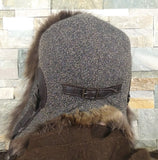 Fur Aviator Hat, Raccoon Fur, Tweed and Brown Leather