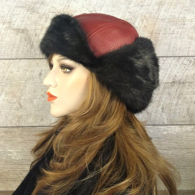 Fur Aviator Hat, Black Mink Fur, Dark Red Leather