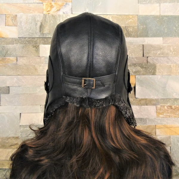 Gray Sheepskin Aviator Hat, Black Leather