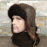 Fur Aviator Hat, Beaver Fur, Brown Leather