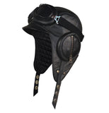 Black Leather Aviator Hat - William Model