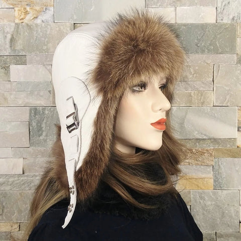 Fur Aviator Hat, Raccoon Fur, White Leather