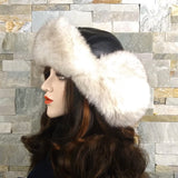Fur Aviator Hat, Silver Fox Fur, Black Leather