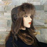 Fur Aviator Hat, Raccoon Fur, Tweed and Black Leather