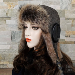 Fur Aviator Hat, Raccoon Fur, Tweed and Black Leather - William Model