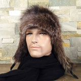 Mens raccoon fur hat