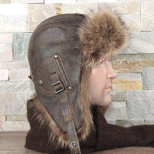 Fur Aviator Hat, Raccoon Fur, Brown Leather - Antoine Model