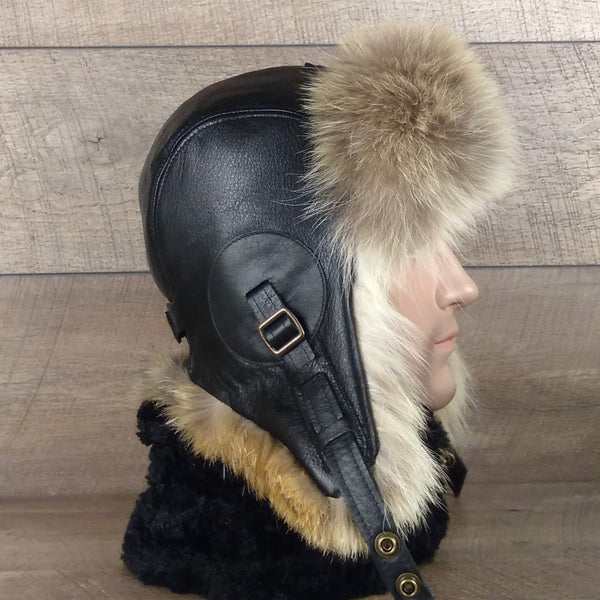 Men's fur hat and leather