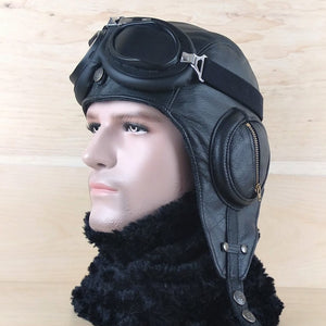 Men's leather aviator cap, black