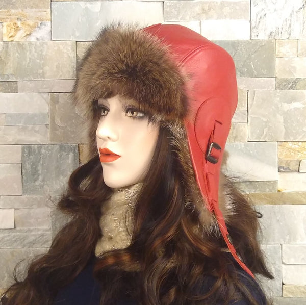 Fur Aviator Hat, Raccoon Fur, Red Leather