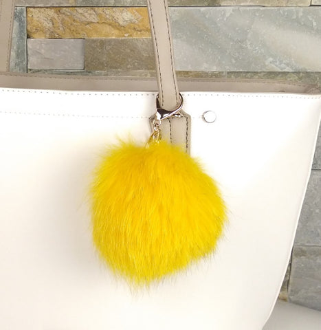 Yellow Fox Fur Pompom