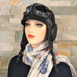 Black aviator hat and goggles