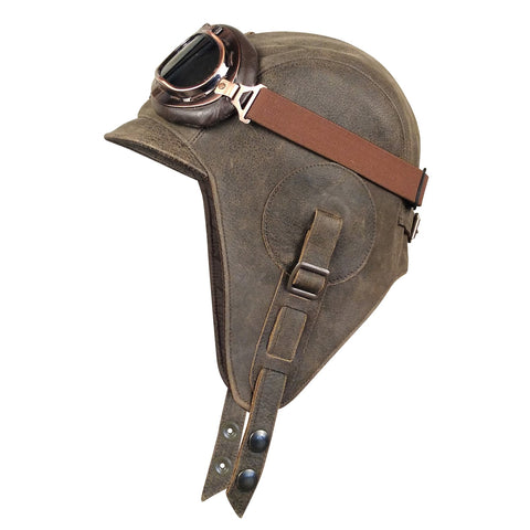 Brown Leather Aviator Hat