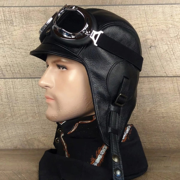 Black Leather Aviator Hat