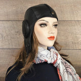 Black Leather Aviator Hat - William Model without Visor