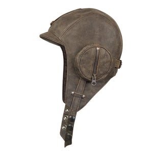 Brown Leather Aviator Hat - William Model