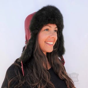 Fur Aviator Hat, Black Opossum Fur, Dark Red Leather