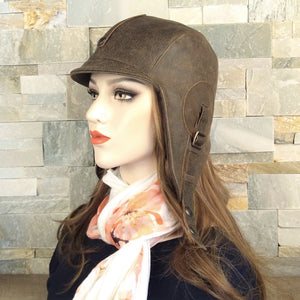 Brown leather aviator hat handmade in Canada