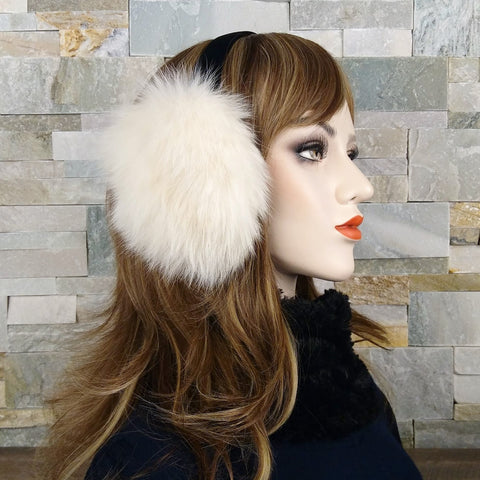 Ivory Fox Fur Earmuffs