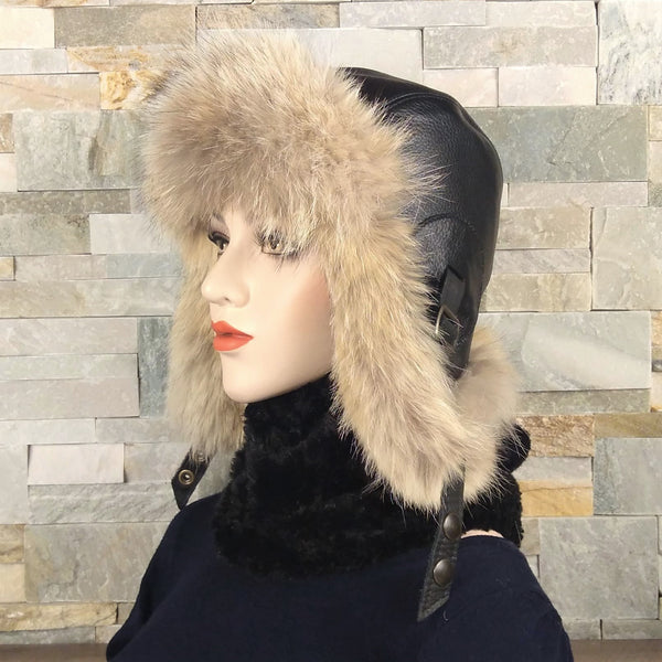 Fur hat and black leather
