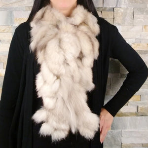 Women's fur scarf, beige fox fur