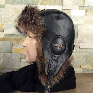 Fur aviator hat and black leather