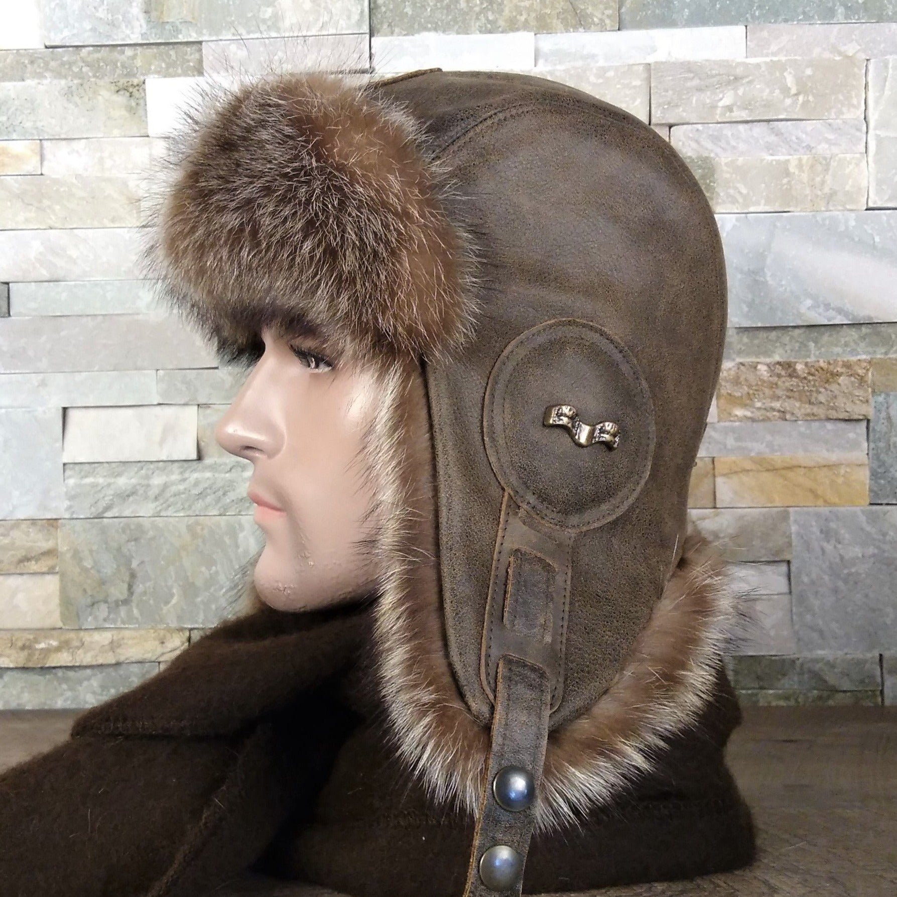 fur aviator hat and leather