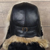 Fur Aviator Hat, Coyote Fur, Black Leather