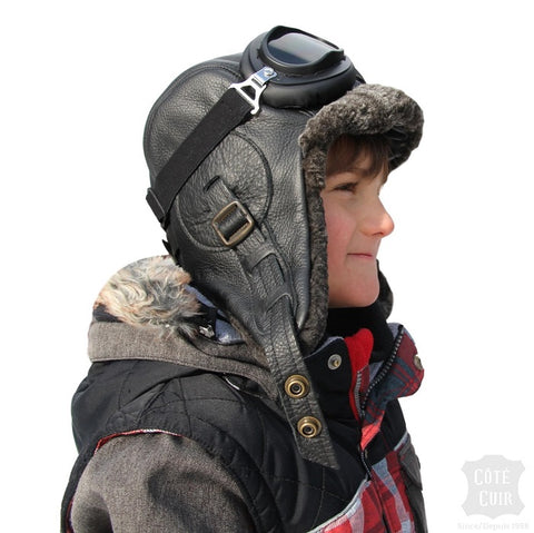 Kids sheepskin aviator hat