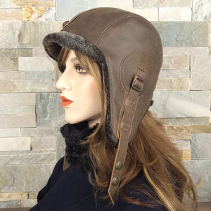 Leather and sheepskin aviator hat