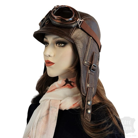 Leather aviator hat and goggles